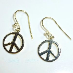Jewelry - 14K Gold Peace Sign Earrings NEW!